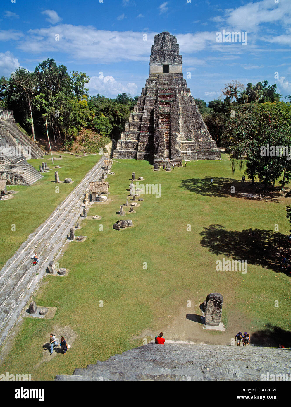 Tikal Mayan Ruins Peten Department Guatemala Temple 1 Temple of the Jaguar - Stock Image