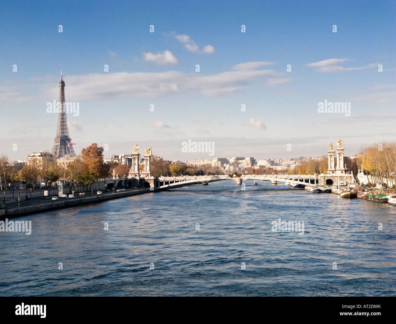 Pont Alexandre III bridge over the River Seine in Paris, France, Europe with the Eiffel Tower - autumn afternoon - Stock Image