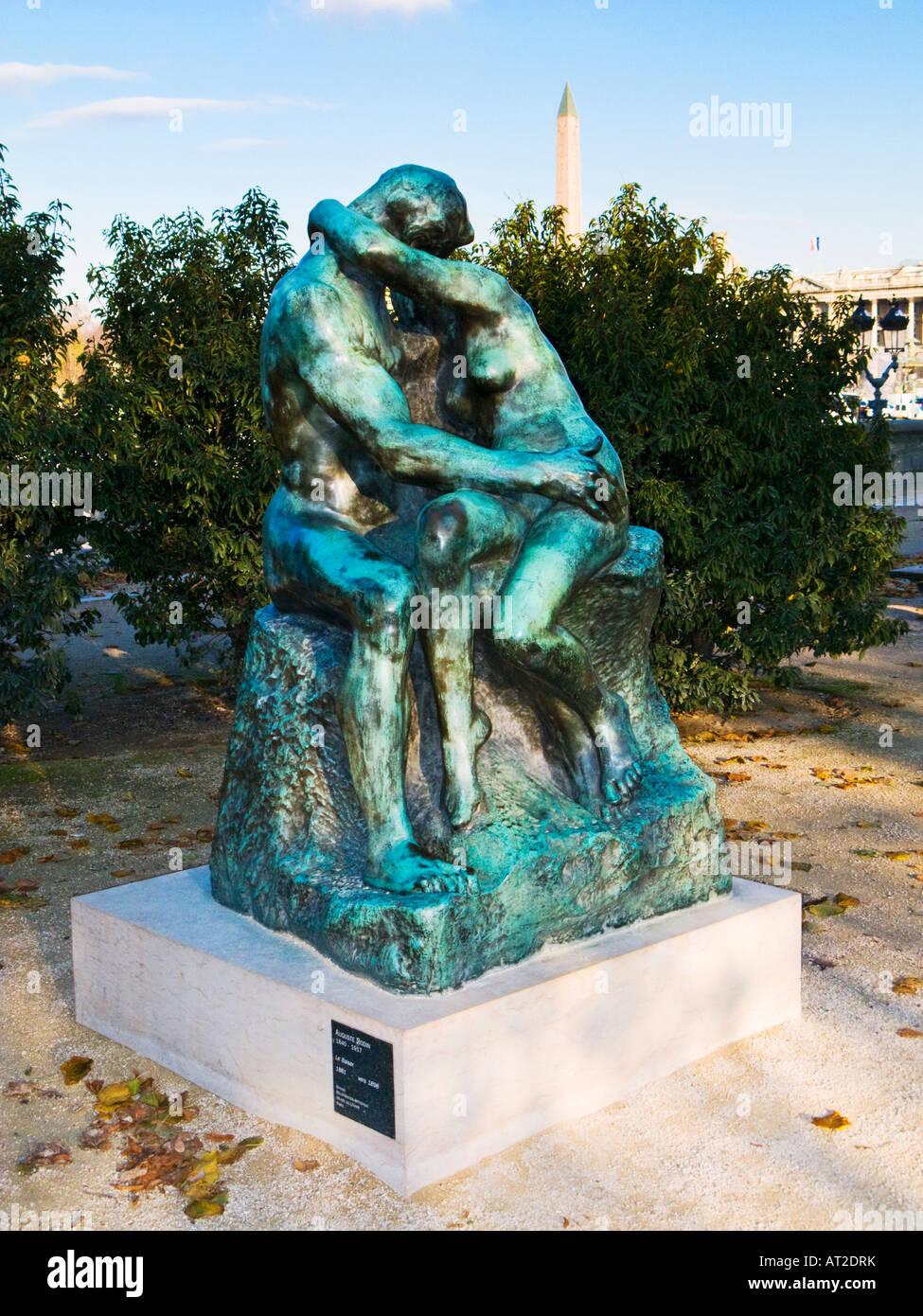 Rodin's Le Baiser, The Kiss bronze sculpture adjacent to Place de La Concorde Paris France Europe Stock Photo