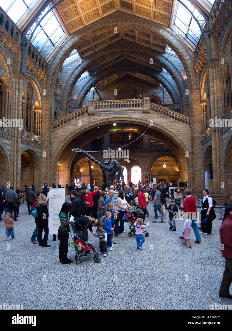 Visitors in the interior of the Central Hall in the Waterhouse Building at the Natural History Museum, London - Stock Image