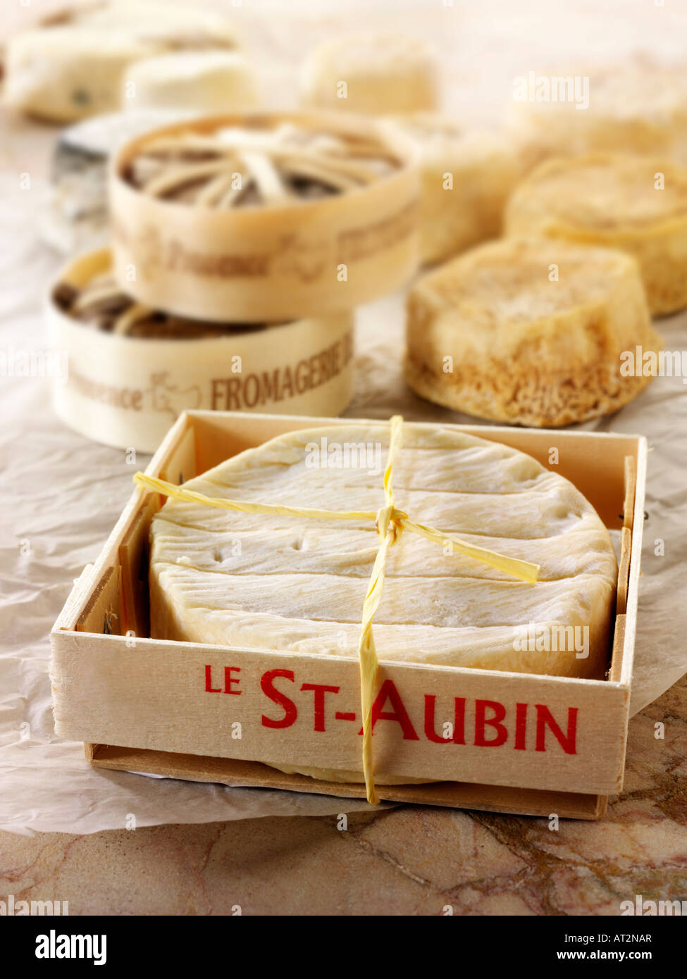 St Aubin soft French cheese in a cheese shop setting - Stock Image
