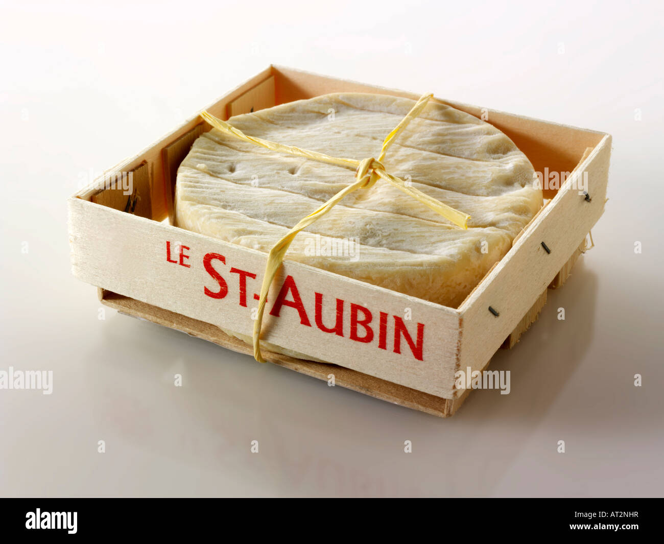 St Aubin soft French cheese on a white background - Stock Image