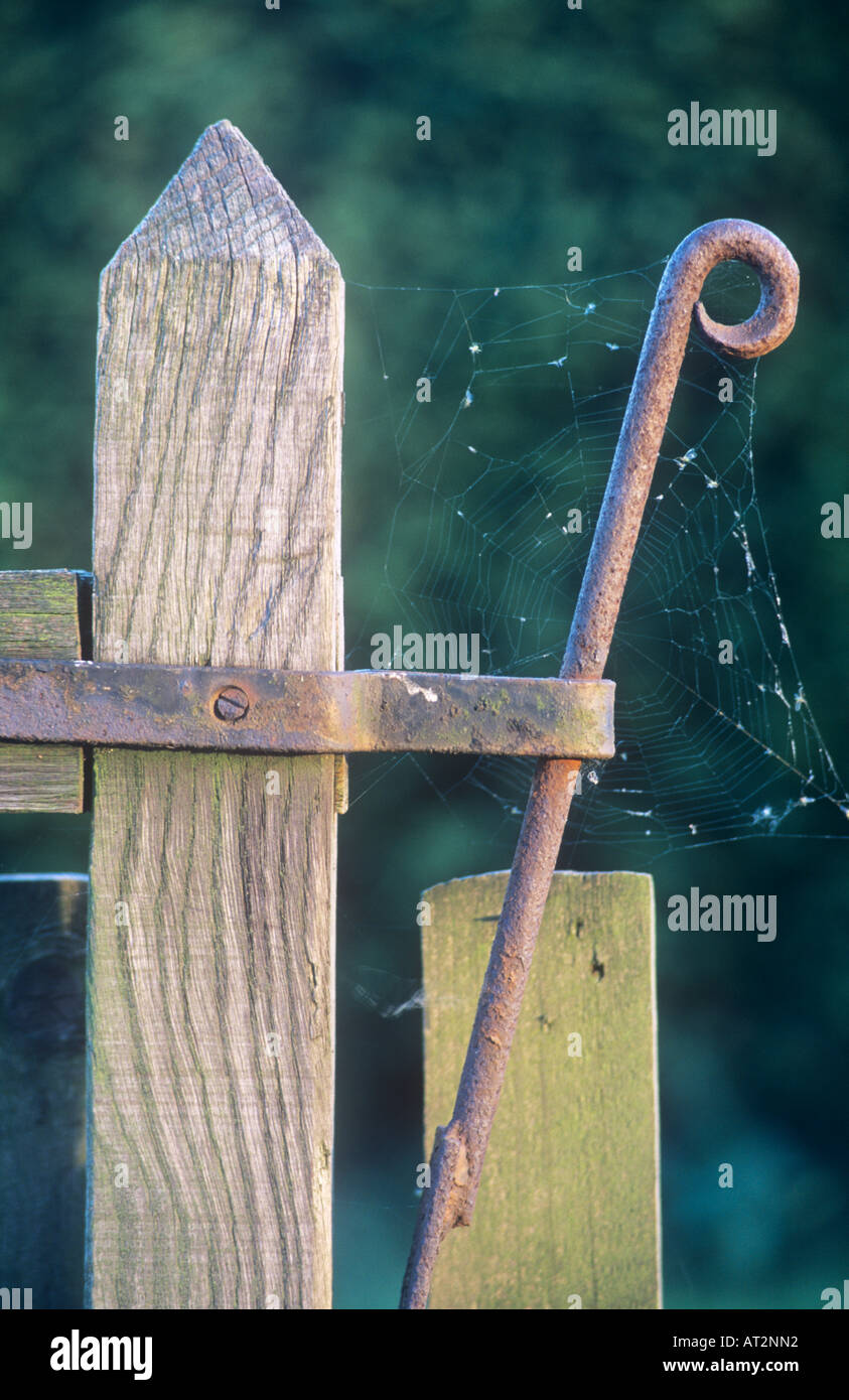 Gatepost and spring latch - Stock Image