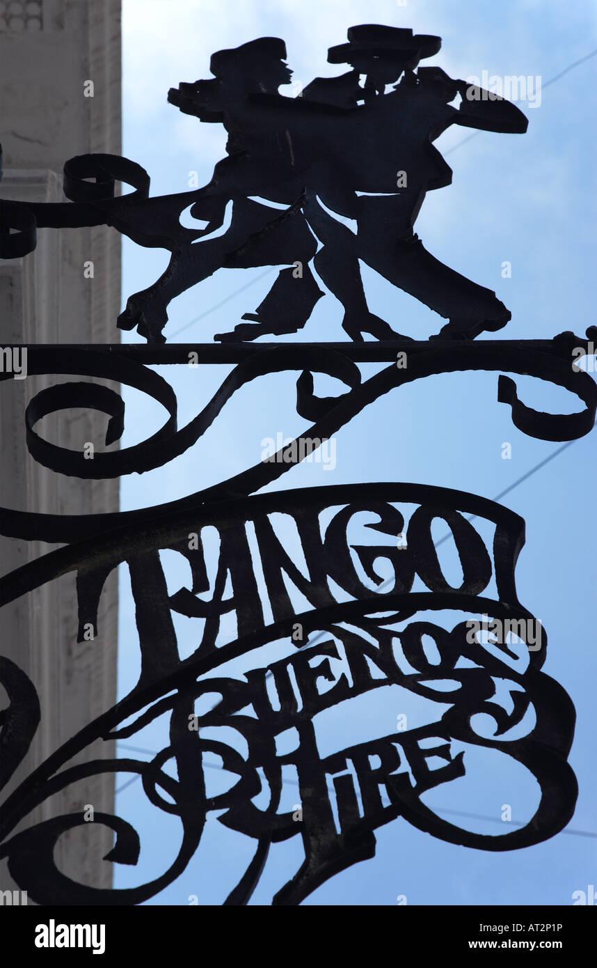 Tango metallic lettering at a Bar in san Telmo neighborhood, Buenos Aires, Argentina - Stock Image