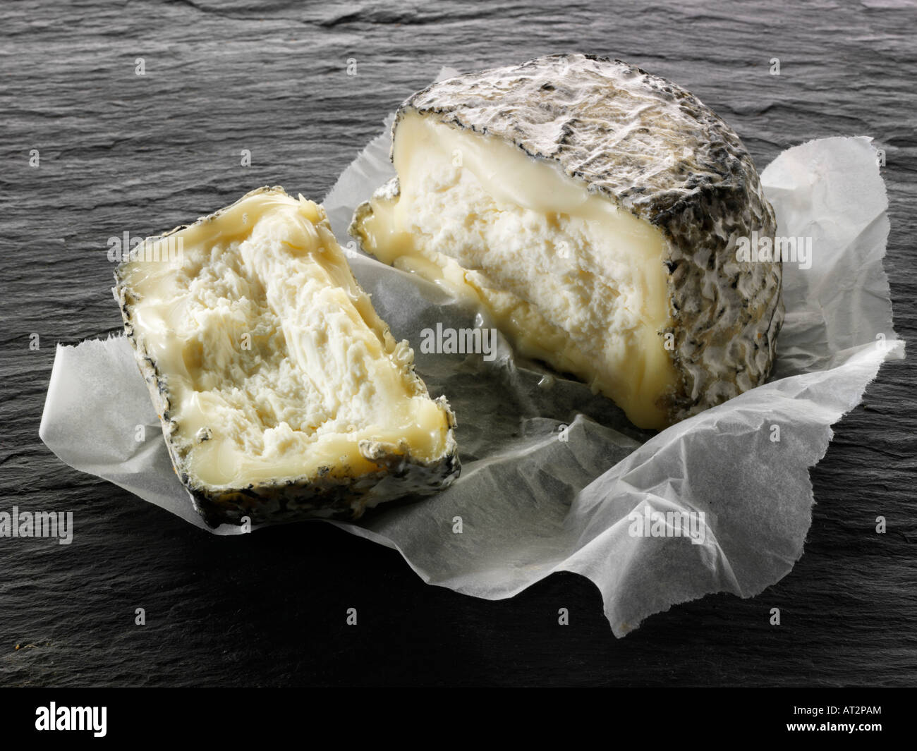 French farmers cinder goat cheese cut on a black background.  Normandy - Stock Image