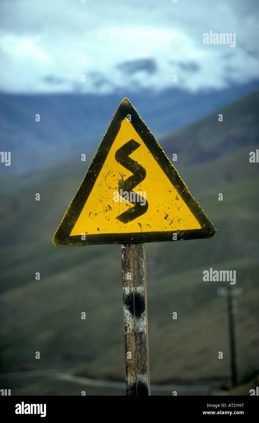 amusing road warning sign - Stock Image