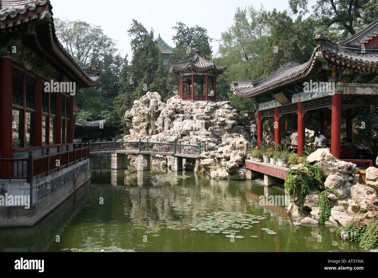 The peaceful heart garden of beihai park beijing china stock photo