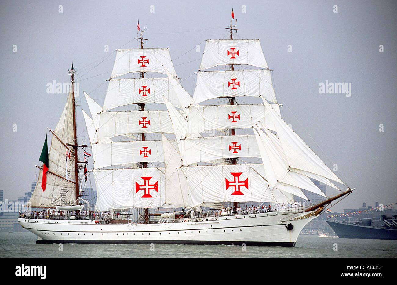 Tall Ship Bark Sagres New York City Hudson River - Stock Image