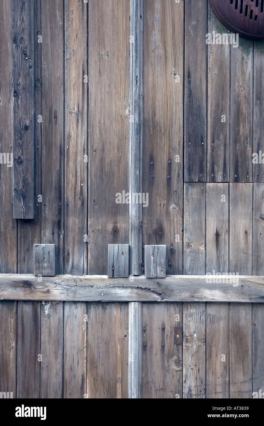 Outside wood door - Stock Image