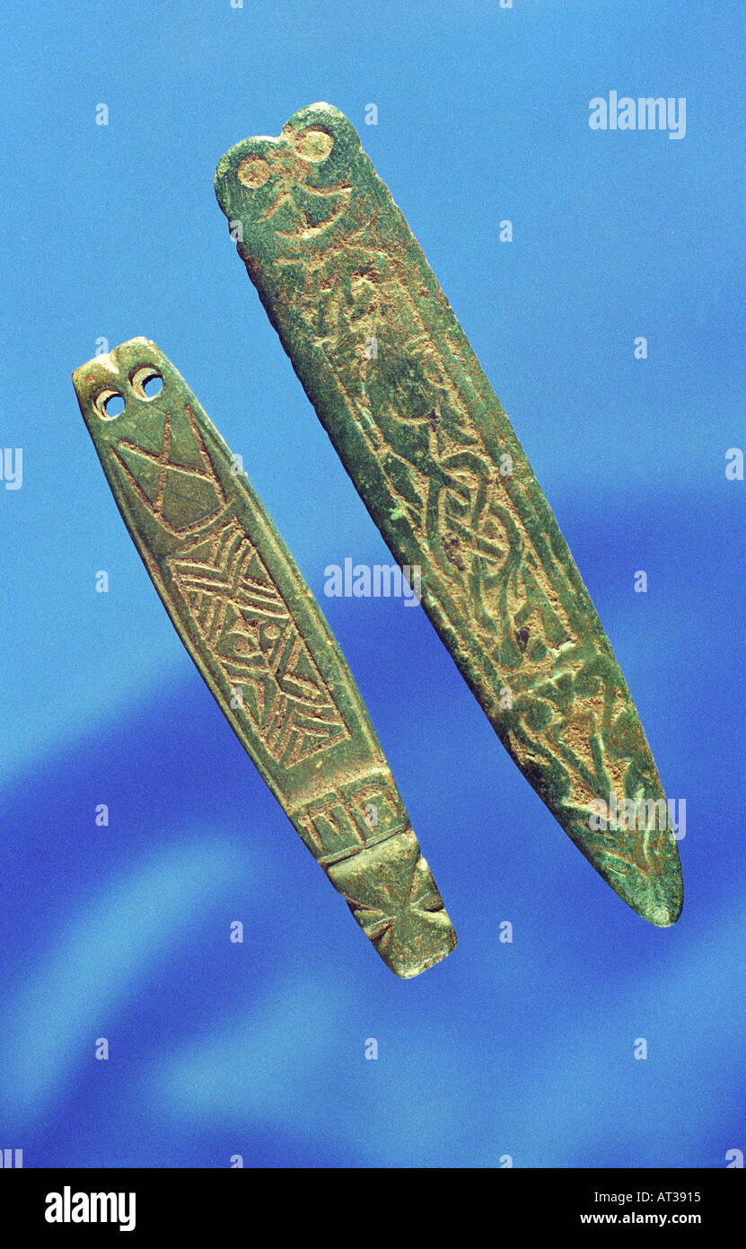 Anglo Saxon copper bronze Strapends with nice green patina. 9TH CENTURY. - Stock Image