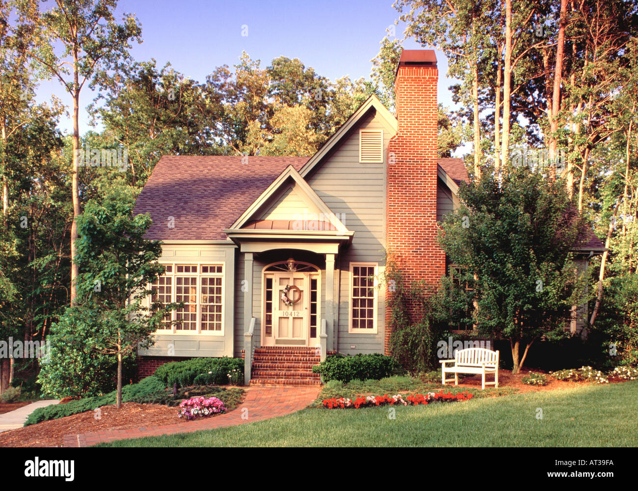 two story brick house landscaped lawn stock photos two. Black Bedroom Furniture Sets. Home Design Ideas