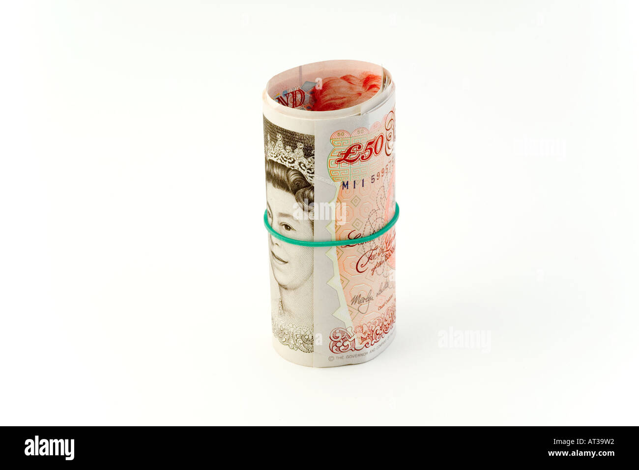 British currency Banknotes £10 roll UK - Stock Image