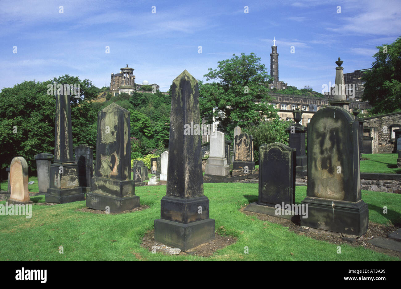 Calton Hill from the Calton Old Burial Ground, Edinburgh, Scotland, UK. Stock Photo