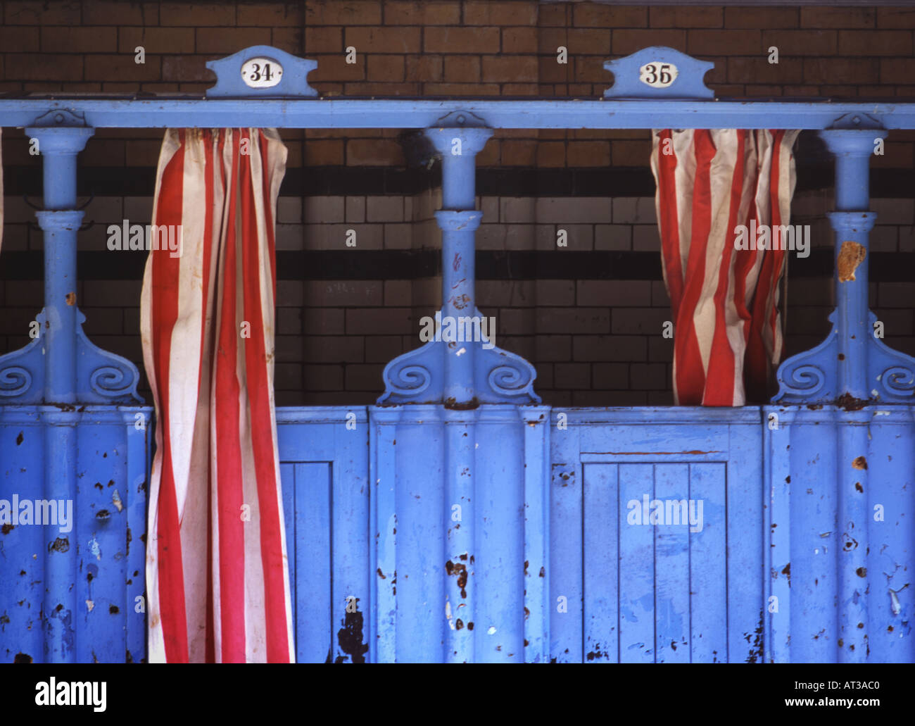 Victoria Baths changing cubicles 2 - Stock Image