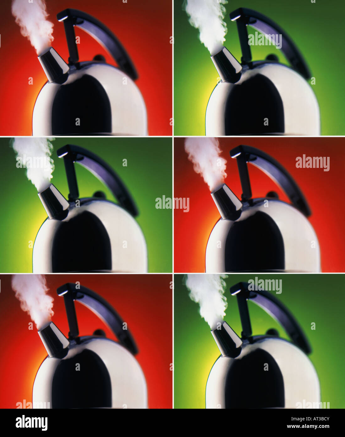 Kettles letting off steam, series - Stock Image