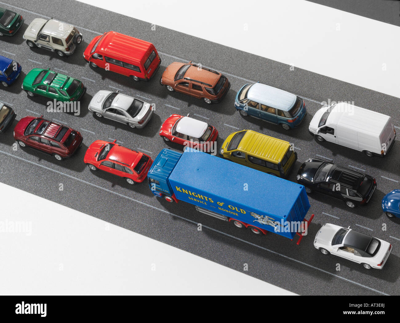 Model cars in a traffic jam, close-up - Stock Image