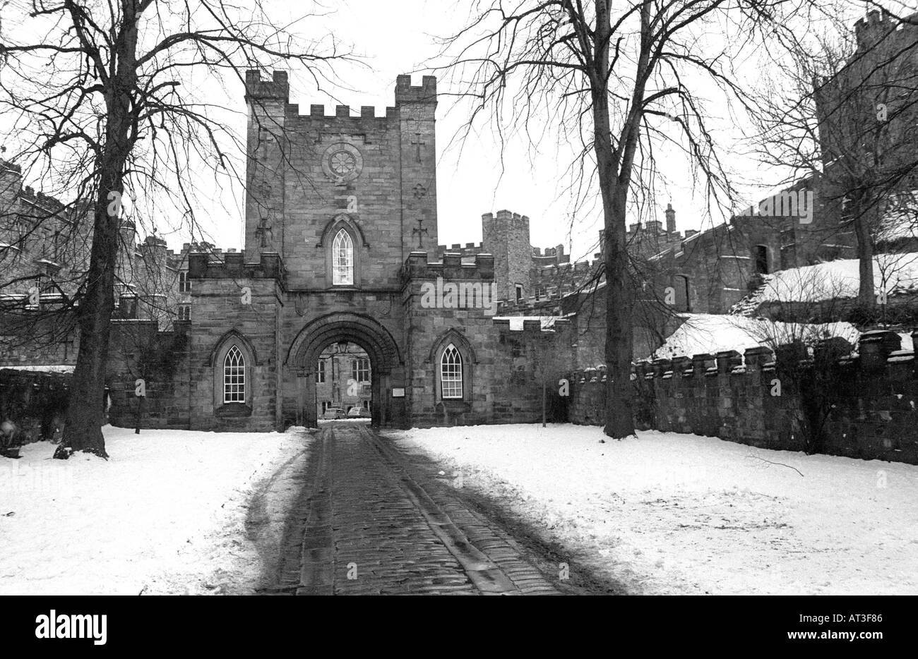 Durham Castle In Snow Durham City County Durham England Stock