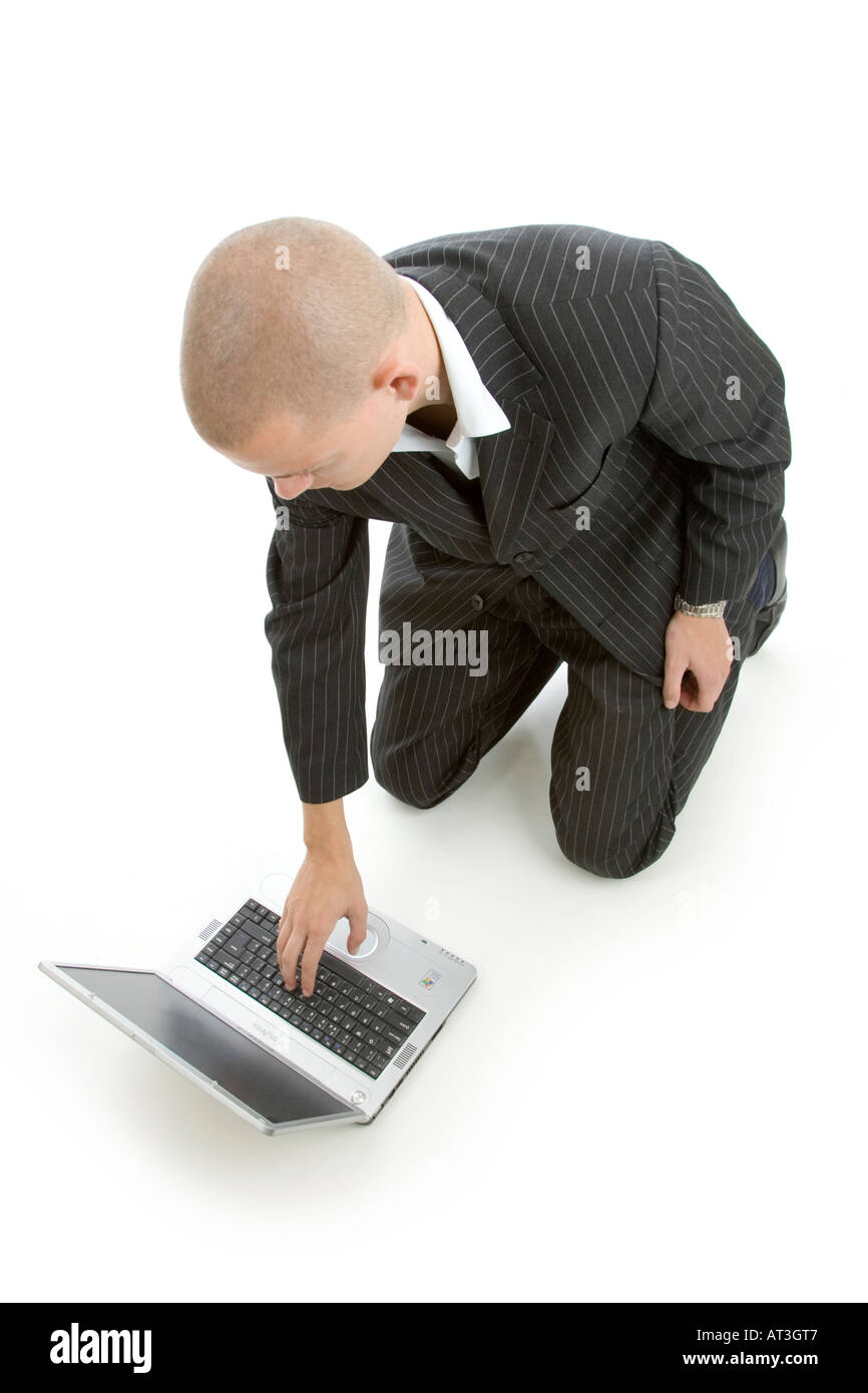businessman with laptop computer - Stock Image