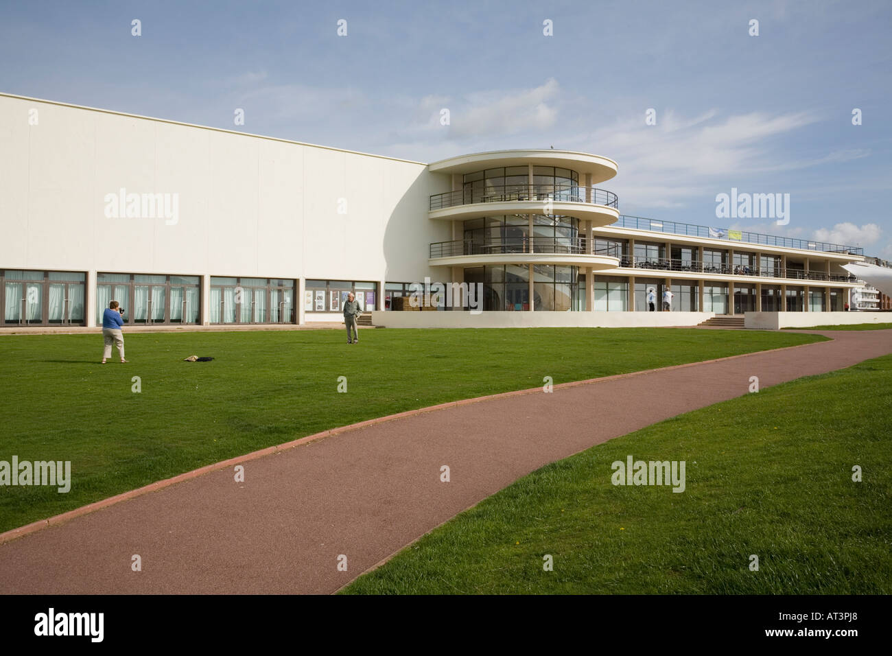 Exterior view of Bexhill Pavilion, UK with photographers - Stock Image