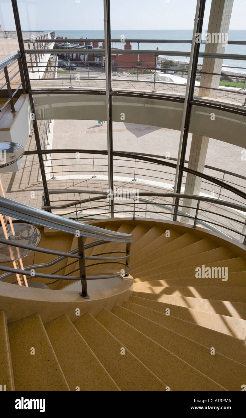 Detail of stairs and external glazing, Bexhill Pavilion, UK - Stock Image