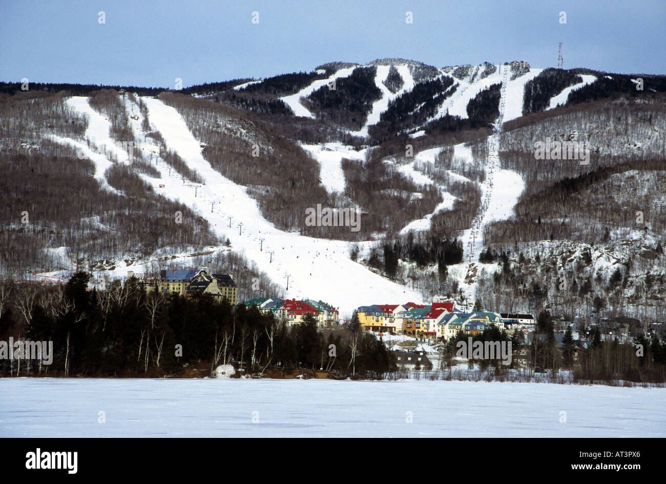 Distant view of some of the downhill ski runs at  Mont Tremblant ski resort Quebec Canada - Stock Image