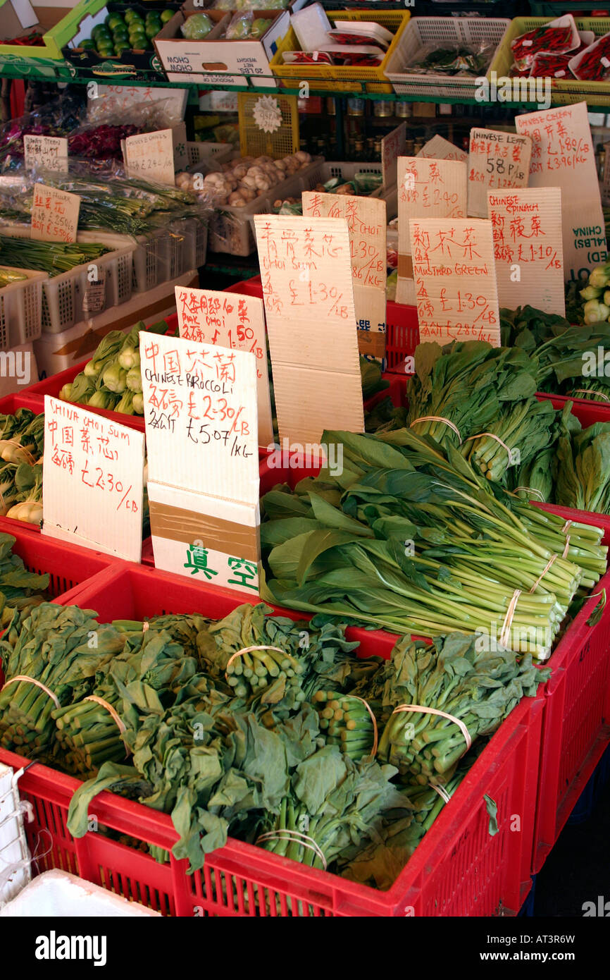 UK London Chinatown Gerrard Street Chinese grocer vegetables - Stock Image