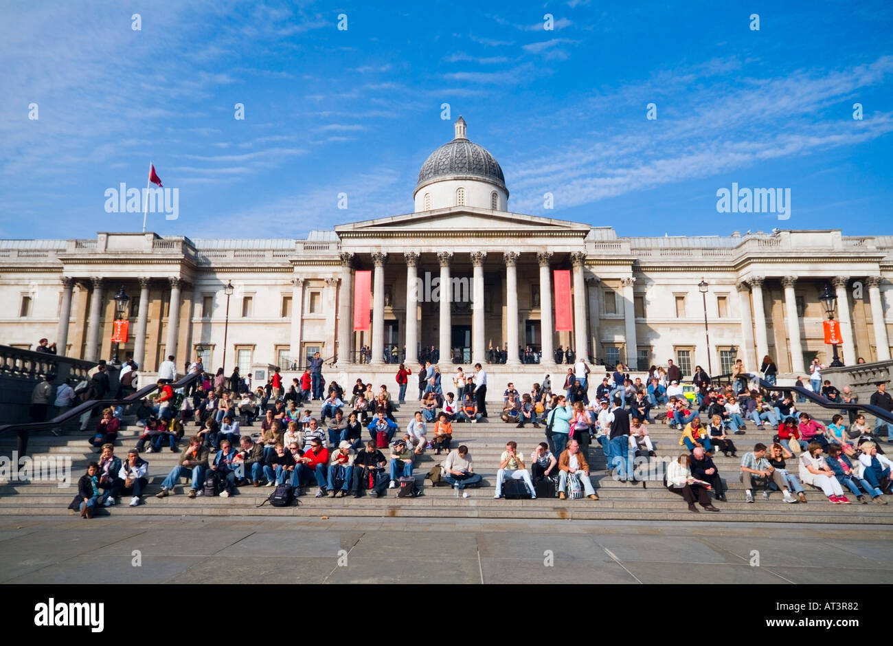 The National Gallery of Great Britain as seen from Trafalgar Square - Stock Image