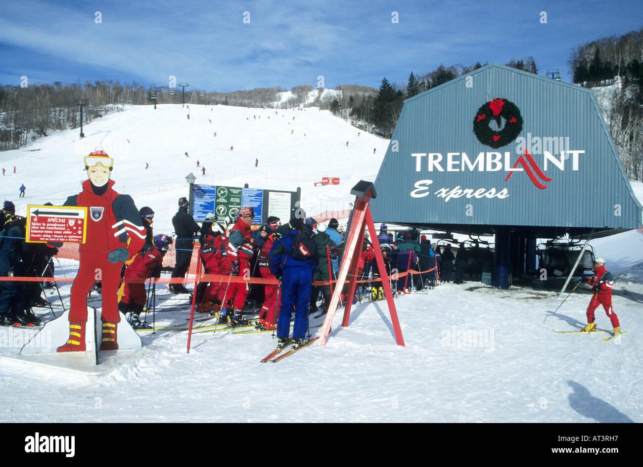 major ski lift at the mont tremblant ski resort in quebec,canada