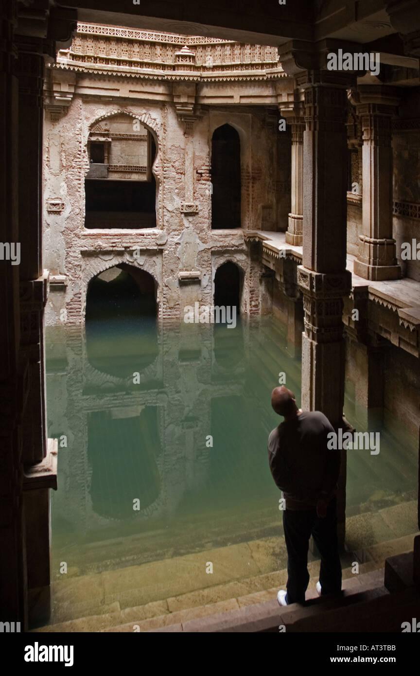 Resevoir of Water at Queen Rudabai's Stepwell Adalaj Ahmedabad Gujarat India - Stock Image