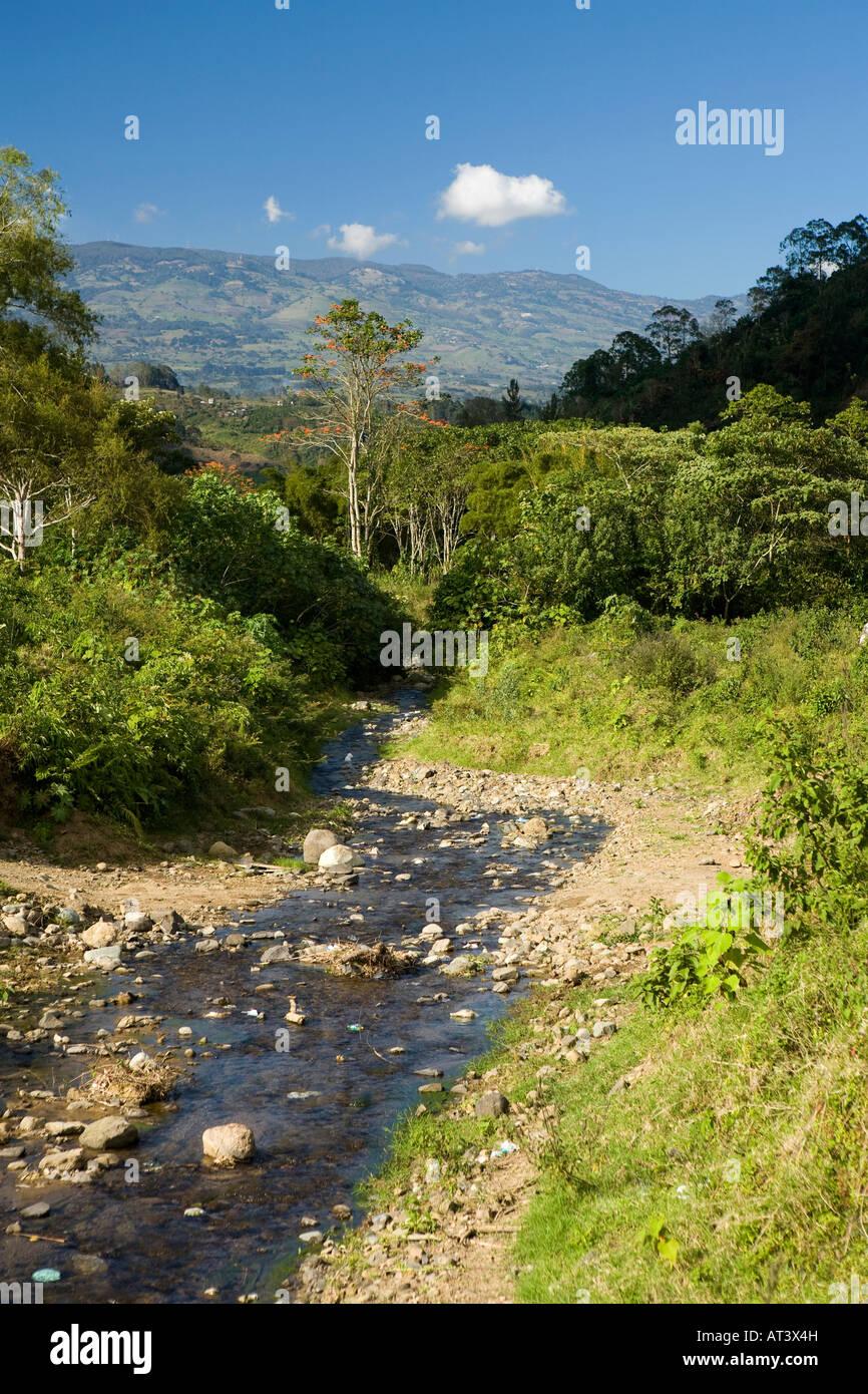 Costa Rica Orosi small stream feeding Rio Grande de Orosi River - Stock Image