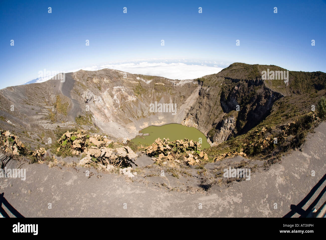 Costa Rica Cartago Volcan Irazu Volcano principal crater and lagoon through wide angle fisheye lens - Stock Image