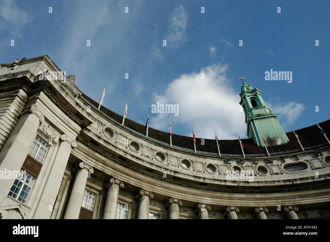 County Hall former GLC headquarters South Bank London England - Stock Image