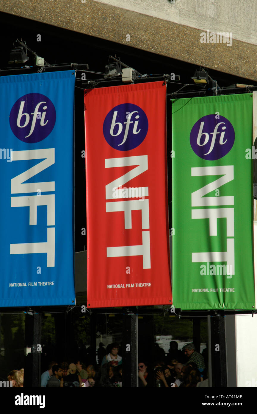 Coloured flags advertising the National Film Theatre NFT and British Film Institute at the South Bank London England - Stock Image
