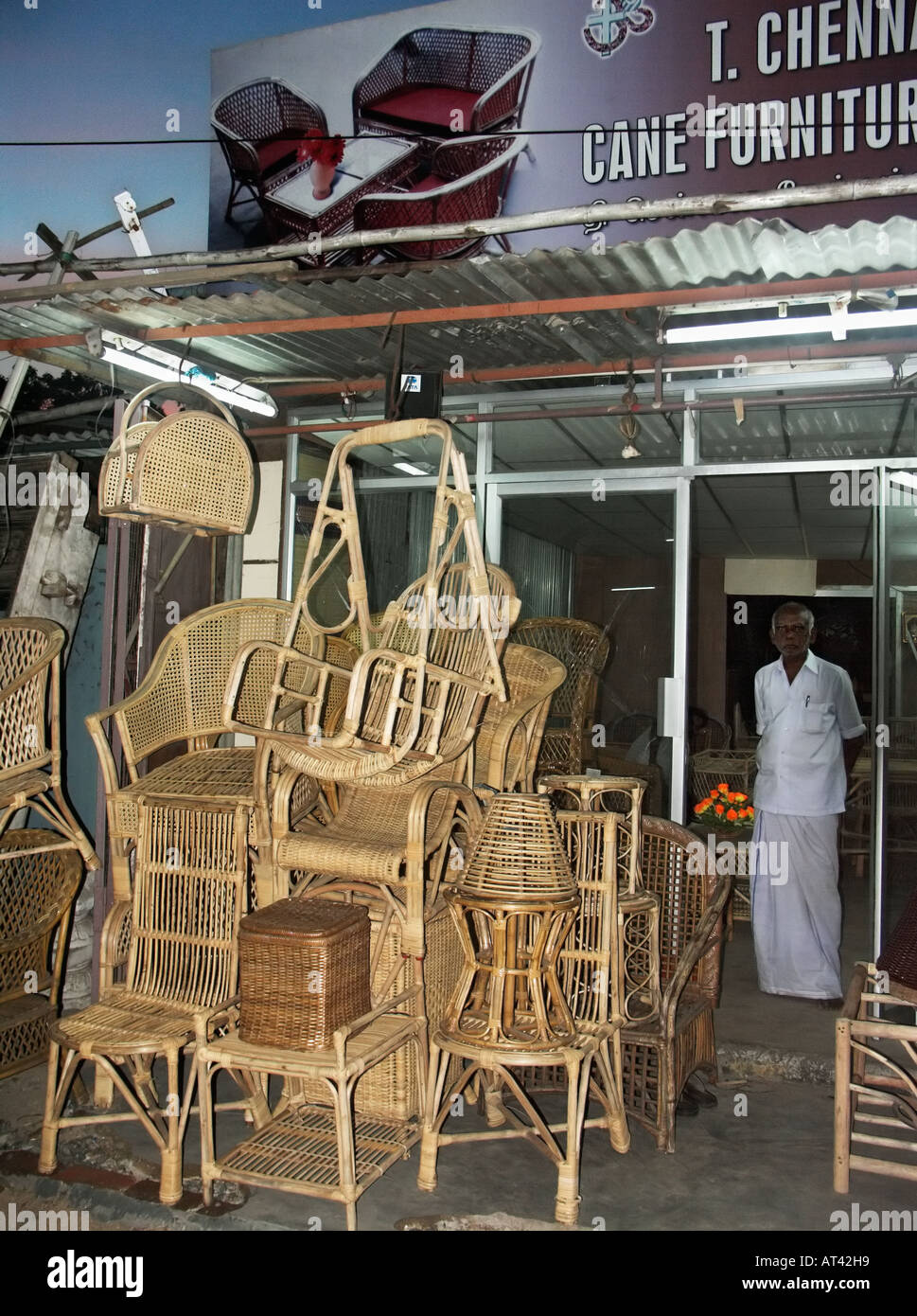 Cane furniture shop Chennai Madras India - Stock Image