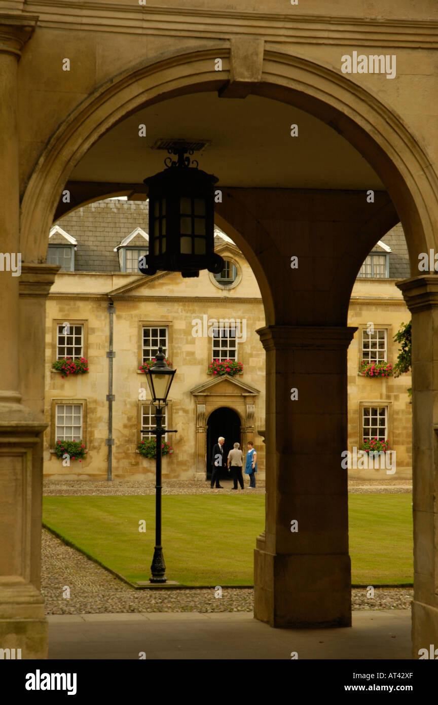 Peterhouse College Cambridge Old Court viewed through arches England - Stock Image