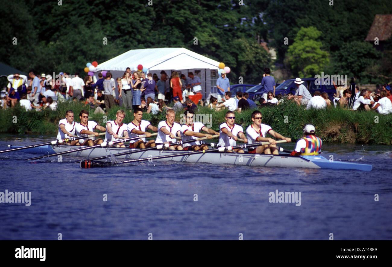 Jesus College Mens Boat participating in the Cambridge Bumps - Stock Image