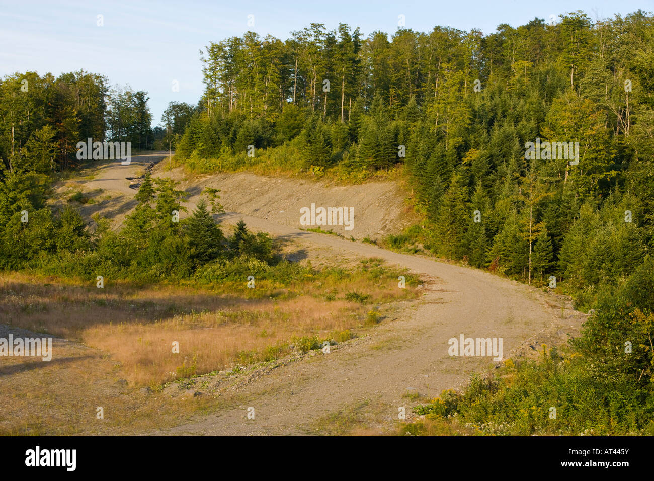 A dirt road on the Washburn Property in Clarksville, New Hampshire. - Stock Image