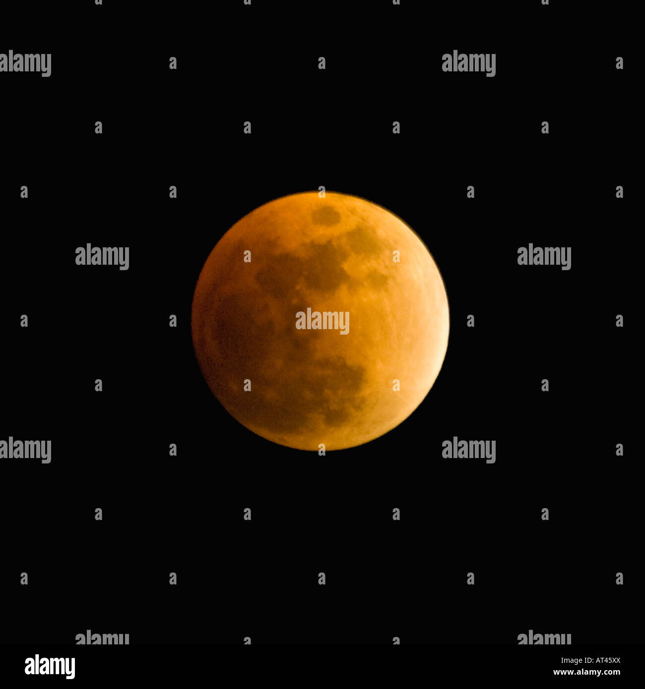 Full Lunar Eclipse on February 20 2008 at 10 15 PM EST Floyd County Indiana - Stock Image