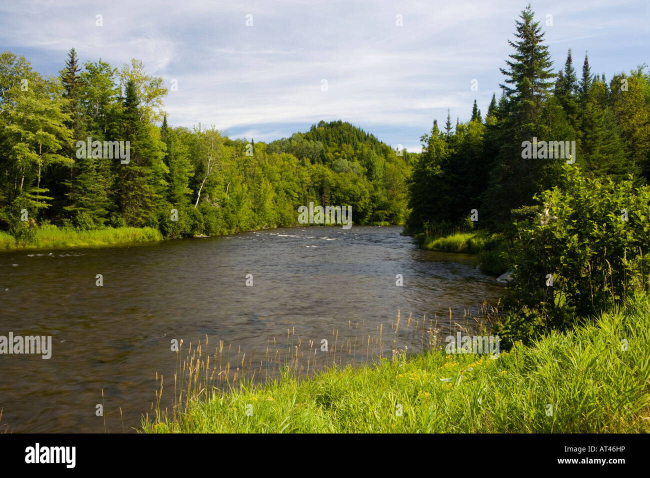 The Connecticut River in Pittsburg, New Hampshire. - Stock Image