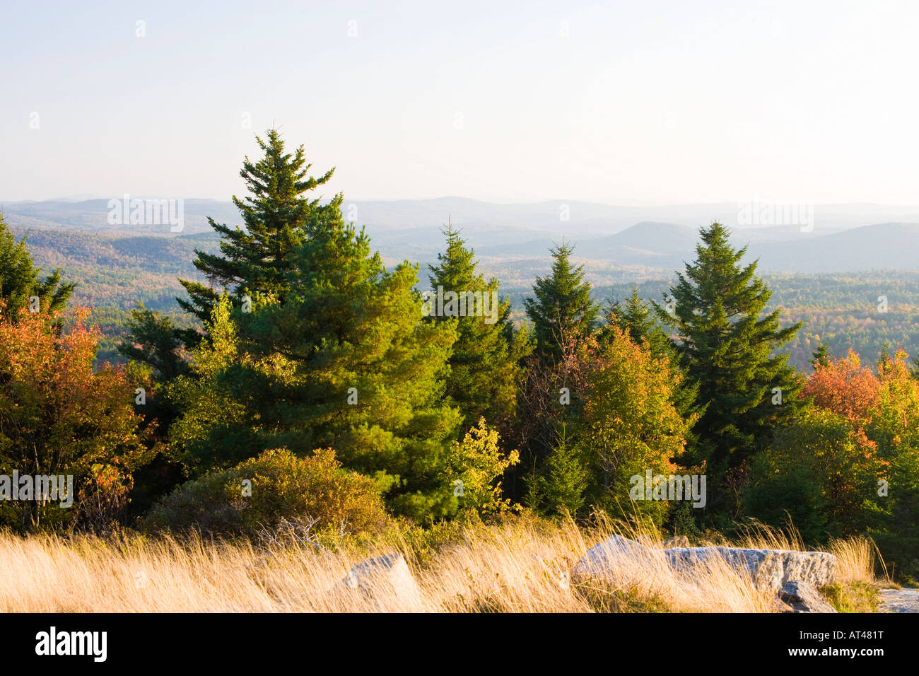 The view south from the summit of Silver Mountain in Lempster, New Hampshire. Stock Photo