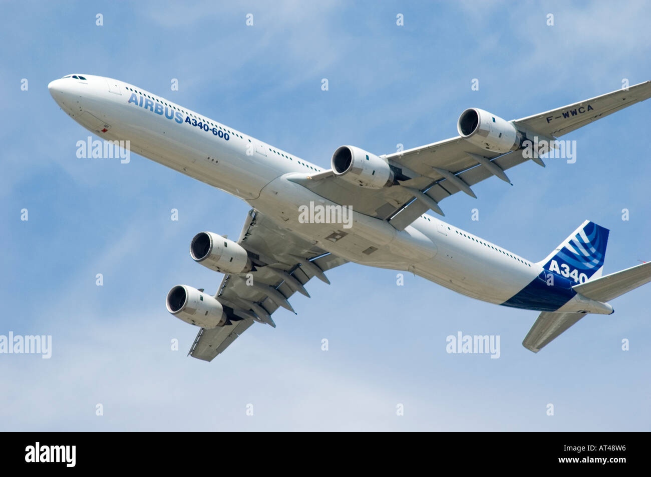 The Airbus A340-600 flying at the 2006 Farnborough International Airshow, United Kingdom. - Stock Image
