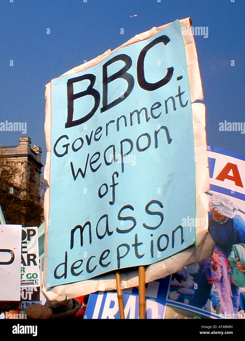 BBC bias banner at anti Iraq war demo in London Stock Photo - Alamy