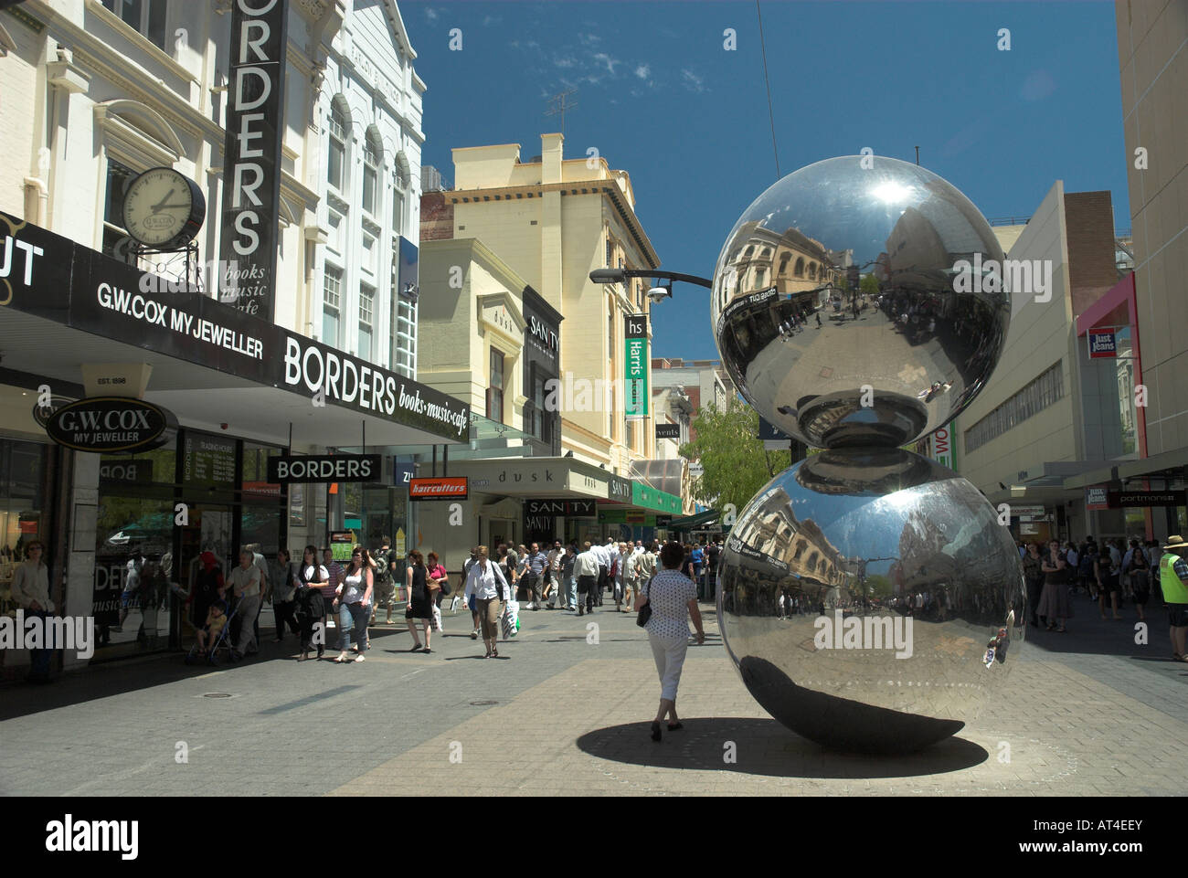 Rundle Mall & Malls Balls, Adelaide, South Australia - Stock Image