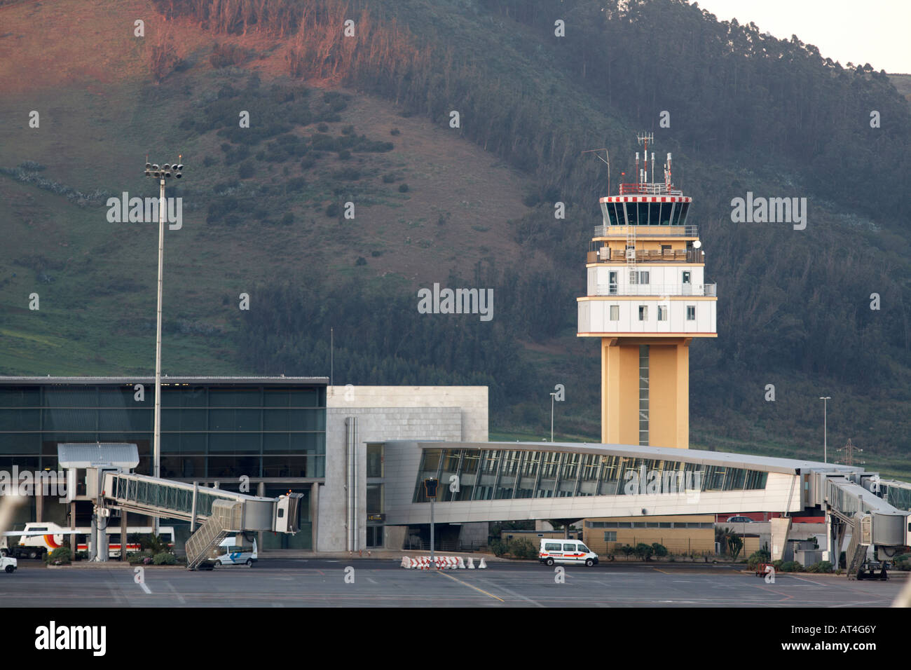 control tower walkways and terminal buildings of Los Rodeos