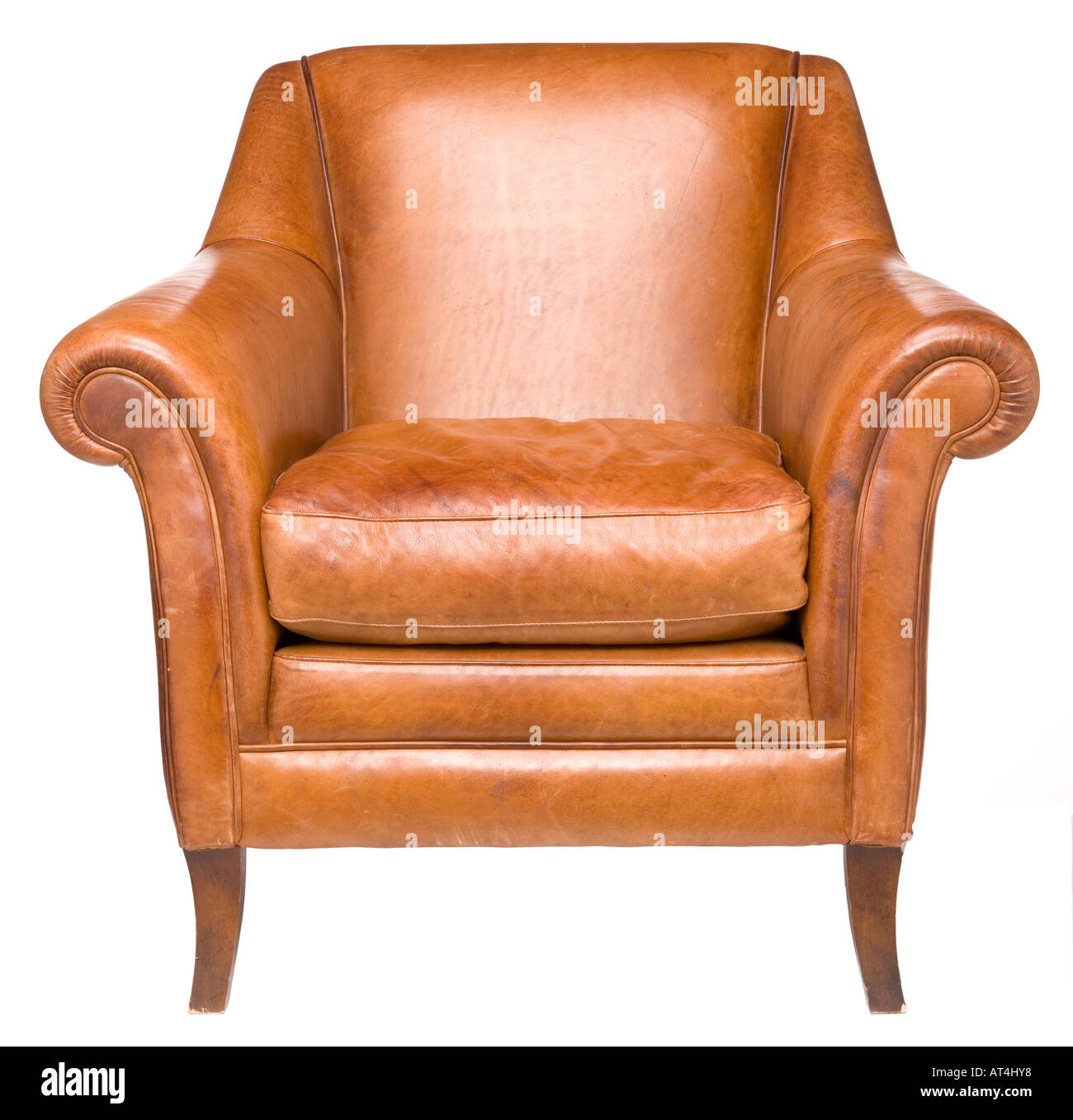 Comfy leather chair - Stock Image