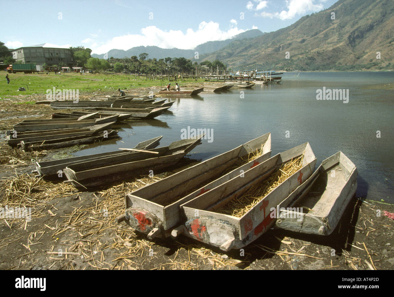 Guatemala Santiago Atitlan Fishing boats on Lake Atitlan shore - Stock Image