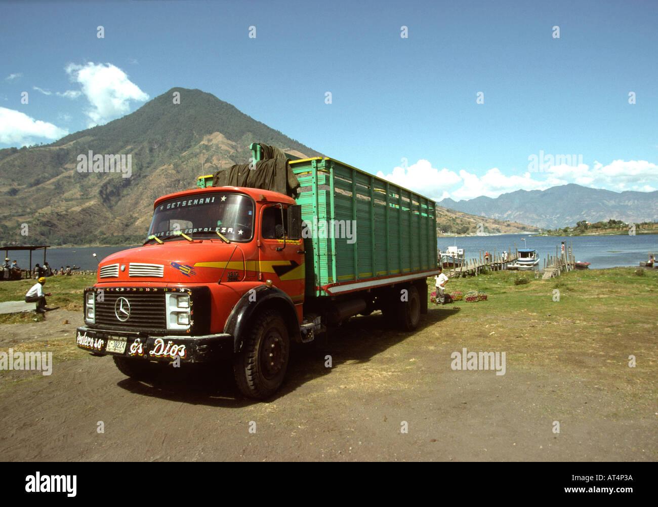 Guatemala Santiago Atitlan Lorry on Lake Atitlan shore - Stock Image