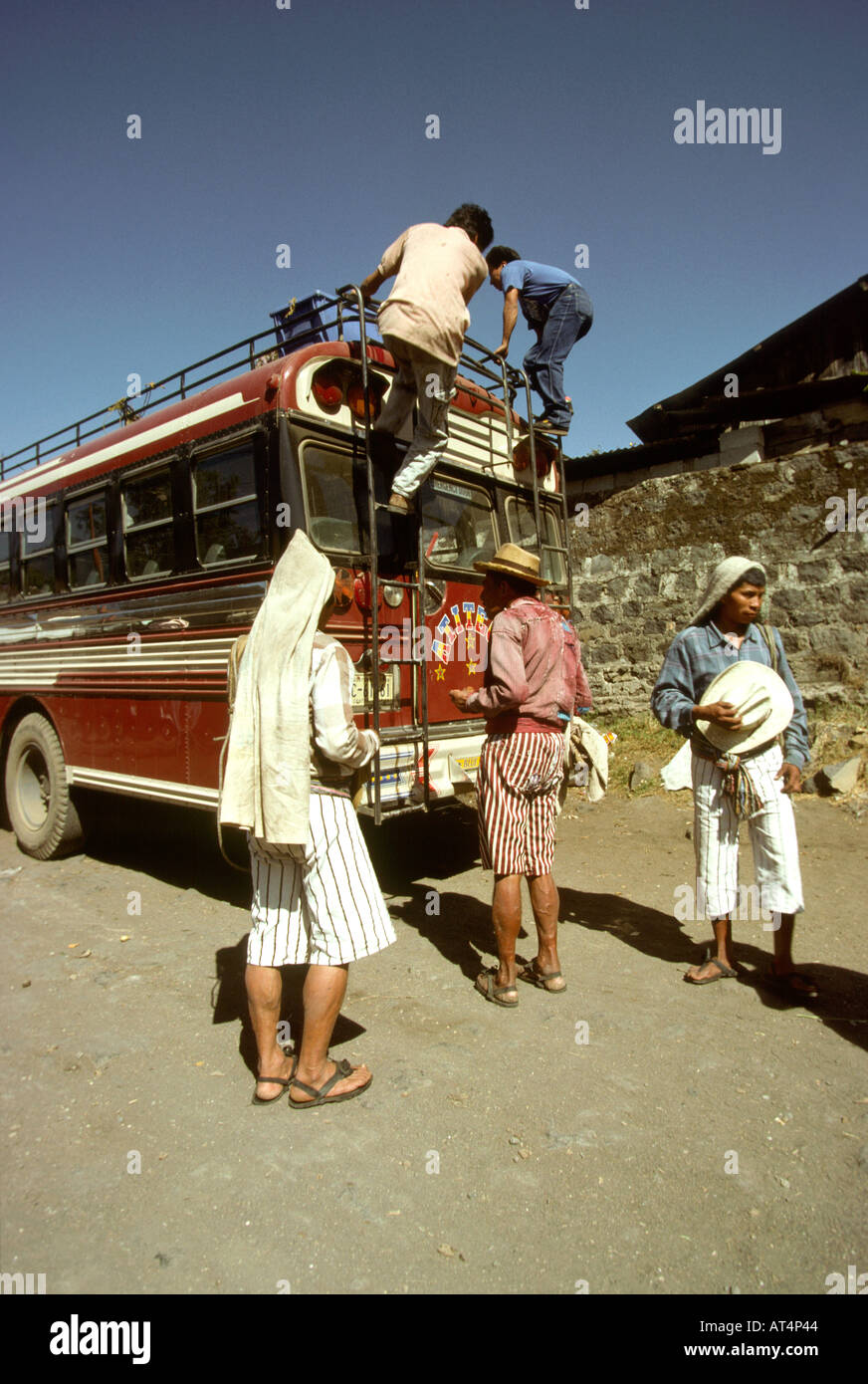 Guatemala Santiago Atitlan bus being loaded - Stock Image