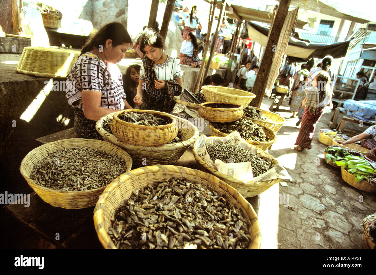 Guatemala Santiago Atitlan fish stall in market - Stock Image