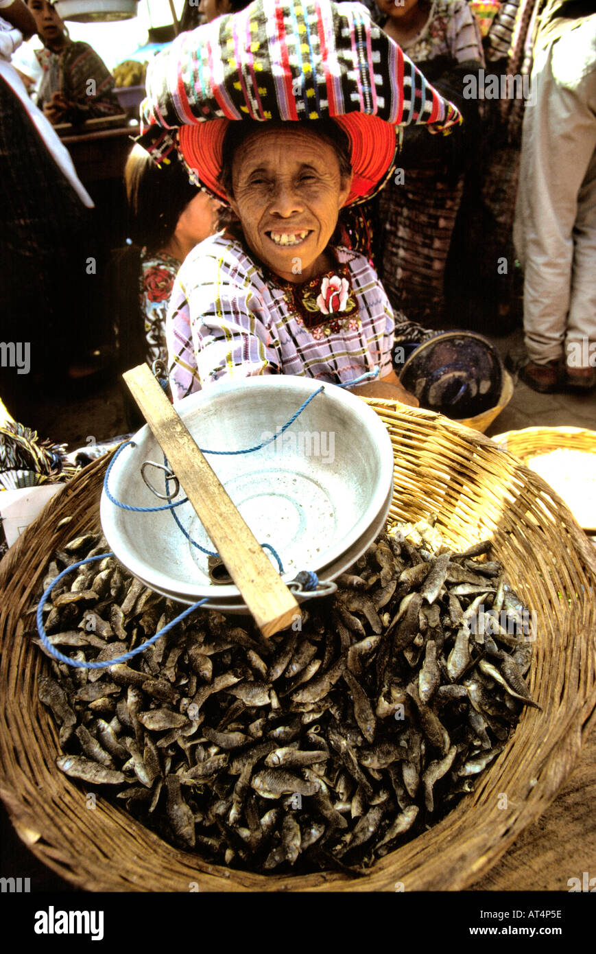 Guatemala Santiago Atitlan old woman in market - Stock Image